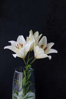Biała leluja kwitnie bukiet na czarnym tle.