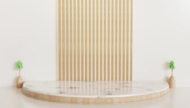 Biała luksusowa prezentacja na scenie dla produktu, stojak na podium 3d renderowane tło