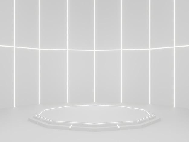 Biała makieta stoiska produktu scifi podium naukowe