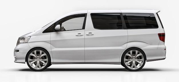 Biała mała minivan do transportu osób. trójwymiarowa ilustracja na błyszczącej białej powierzchni