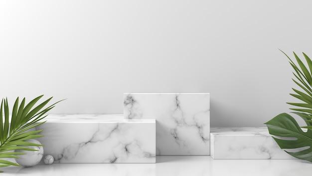 Biała marmurowa prezentacja na podium do lokowania produktu z liśćmi na białej ścianie