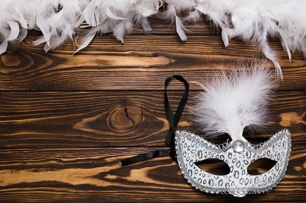 Biała maska w pobliżu piór