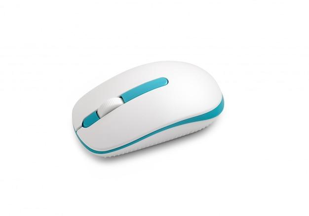 Biała mysz komputerowa na białym tle