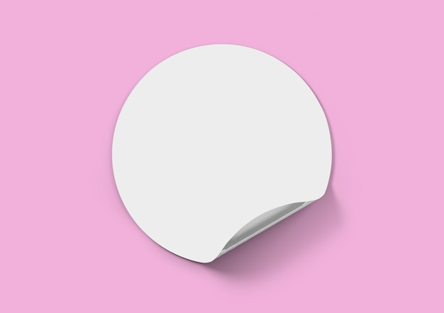Biała nalepka na różowym tle, naklejka