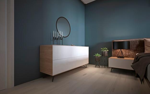 Biała nowoczesna komoda z lustrem przy ciemnej ścianie w sypialni. renderowanie 3d