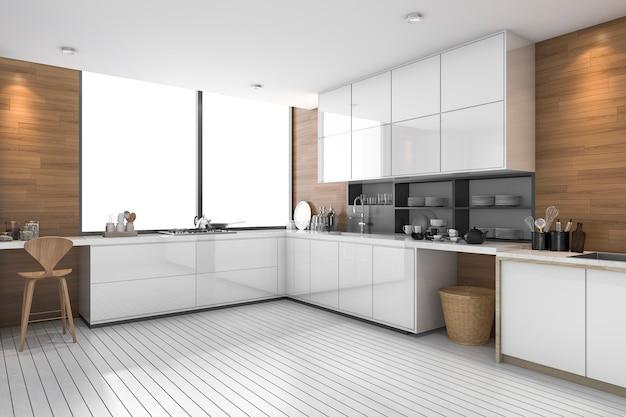 Biała nowoczesna kuchnia etniczna z drewnianym wzorem