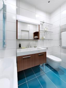 Biała nowoczesna łazienka z niebieskimi kafelkami na podłodze