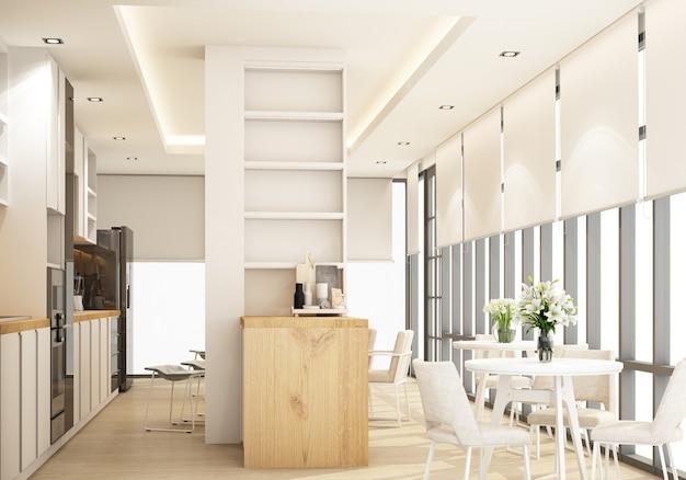 Biała nowoczesna nowoczesna kuchnia z wyposażeniem kuchennym i blatem wyspowym na drewnianej podłodze. renderowanie 3d