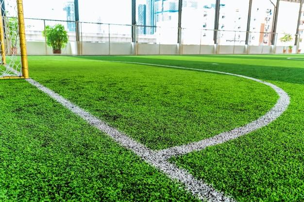 Biała okrągła linia bramkowa na zielonej trawie na boisko sportowe z nikim na tle
