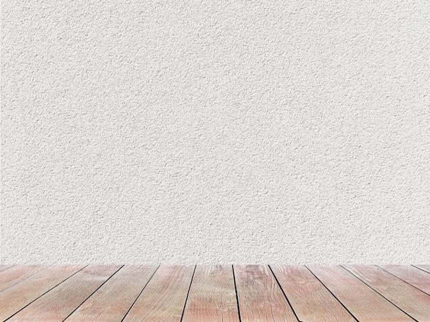 Biała otynkowana ściana z bladym drewnianym tłem wyświetlacza produktu podłogowego