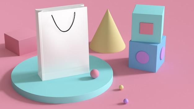 Biała papierowa torba i figury geometryczne