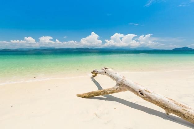 Biała, piaszczysta plaża i łódź z długim ogonem na wyspie khang khao (wyspa nietoperzy),
