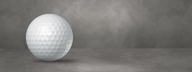 Biała piłeczka golfowa na białym tle na betonowym tle. ilustracja 3d
