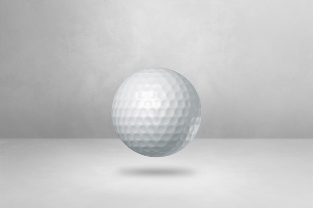 Biała piłeczka golfowa na białym tle na pustym tle. ilustracja 3d