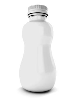 Biała plastikowa butelka do picia na białym tle w 3d renderowania obrazu