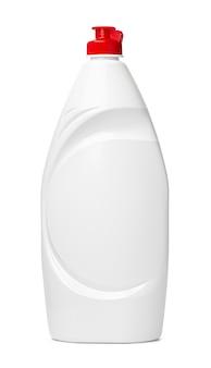 Biała plastikowa butelka płynu do mycia na białym tle