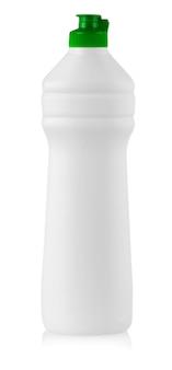 Biała plastikowa butelka z płynnym detergentem do prania, środkiem czyszczącym, wybielaczem lub płynem do zmiękczania tkanin na białym tle.