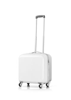 Biała plastikowa walizka lub bagaż odizolowywający na bielu