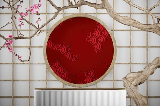 Biała platforma na tle japonii i czerwona chmura drzewa sakura i wzór rybiej łuski
