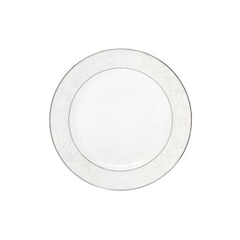 Biała płyta ceramiczna na białym tle. płaski układanie, widok z góry