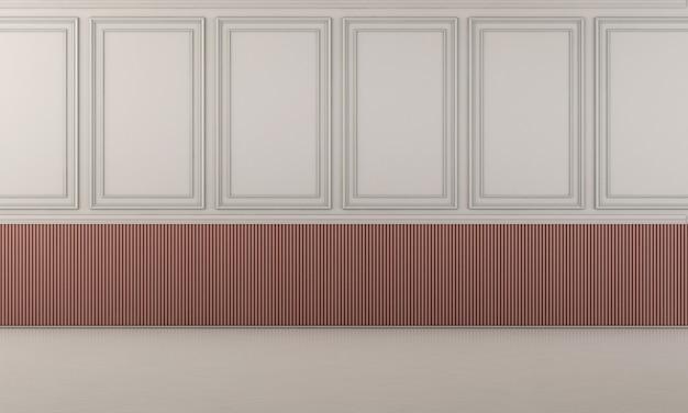 Biała podłoga i biała elegancka dekoracja z czerwonym tłem w paski na ścianie