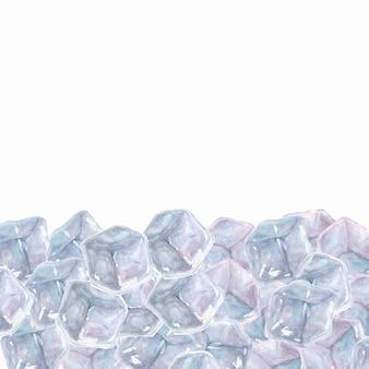 Biała powierzchnia z ręcznie rysowanymi akwarelowymi kostkami lodu