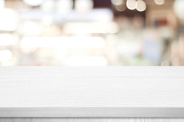 Biała prezentacja stołu, biurko i rozmycie