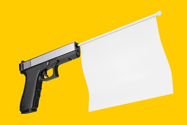 Biała pusta flaga do twojego projektu wychodząca z nowoczesnego pistoletu na żółtym tle renderowanie 3d