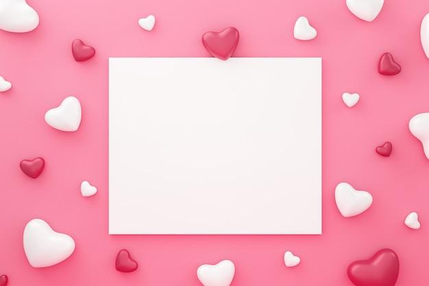 Biała ramka i wzór serca na różowym tle z okazji walentynki. piękny styl mini serca. renderowanie 3d.