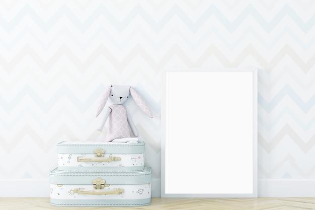 Biała ramka makiety w ładnym pokoju dziecięcym