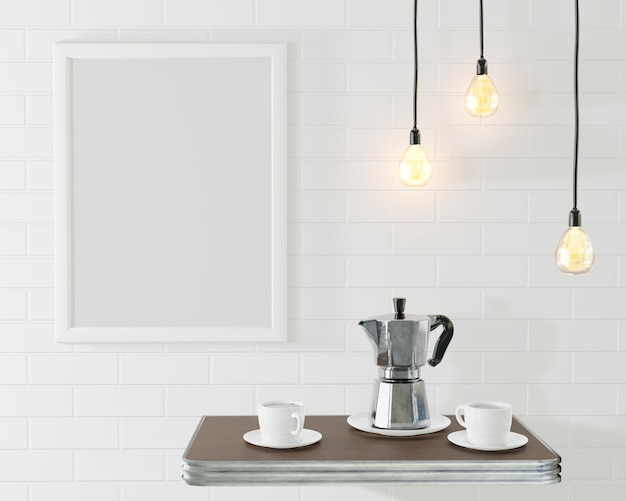 Biała ramka na zdjęcie we wnętrzu loftu. konceptualna kawiarnia z murem i zabytkowymi lampami. renderowania 3d