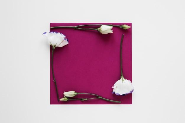 Biała ramka z kwiatami otaczająca pusty kawałek papieru
