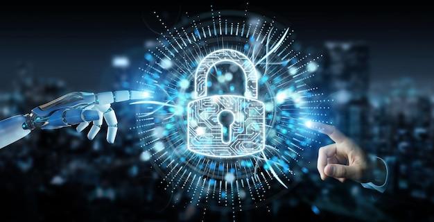 Biała ręka cyborga chroniąca jego dane za pomocą hologramu cyfrowego zabezpieczenia 3d