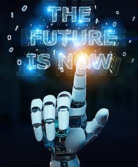 Biała ręka cyborga przy użyciu interfejsu tekstowego przyszłej decyzji