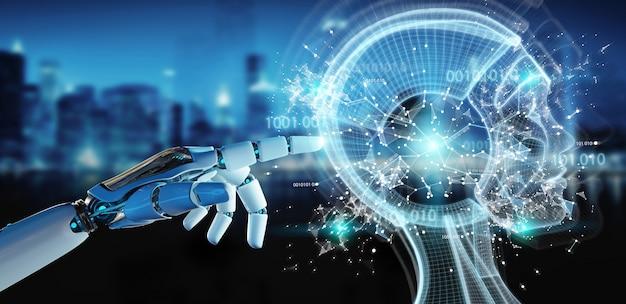 Biała ręka cyborga tworząca renderowanie 3d sztucznej inteligencji