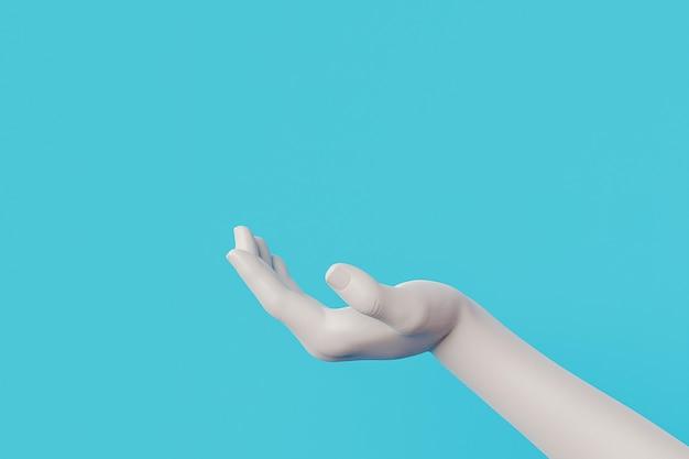 Biała ręka do wyświetlania produktu z niebieskim tłem