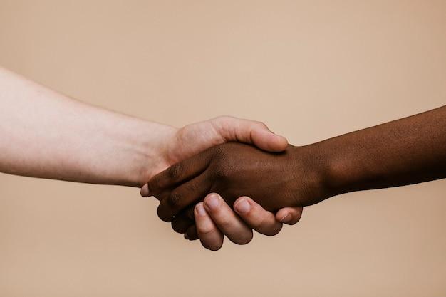 Biała ręka potrząsająca czarną ręką
