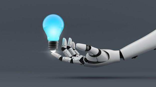 Biała ręka robota wytwarza energię do żarówki, asystent technologii do kreatywnego renderowania 3d