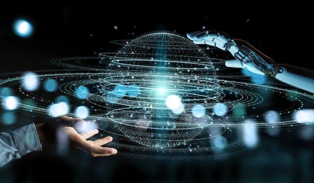 Biała ręka robota za pomocą hologramu renderowania 3d połączenia kuli cyfrowej