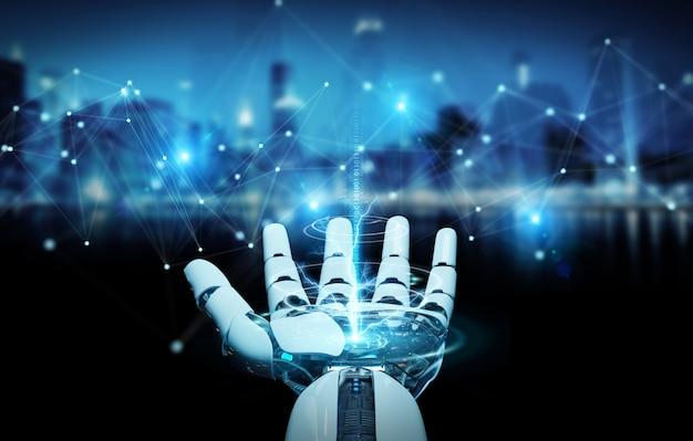Biała ręka robota za pomocą renderowania 3d cyfrowego połączenia sieciowego