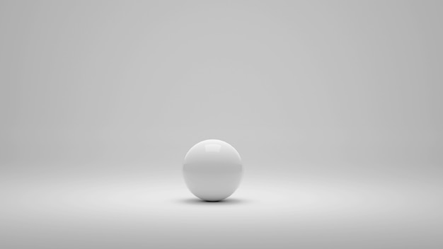 Biała samotna kula na białym tle. ilustracja 3d
