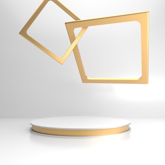 Biała scena ze złotą ramą na wizytówkę produktu