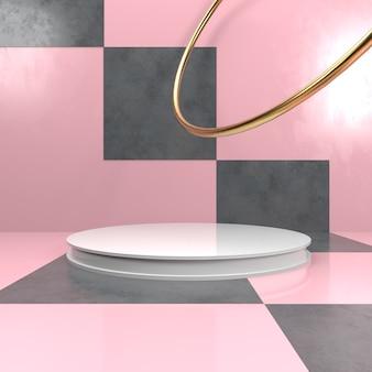 Biała scena ze złotym kółkiem i różowym tle 3d