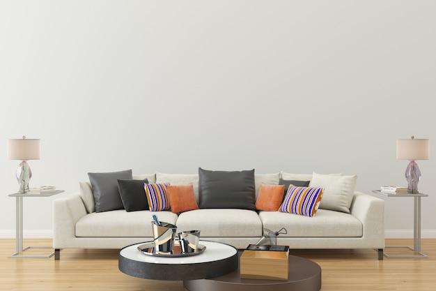Biała ściana drewniana podłoga sofa pokój dzienny dom tło szablonu
