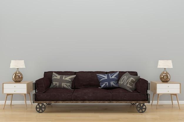 Biała ściana loft sofa drewniana podłoga tło tekstura lampa vintage