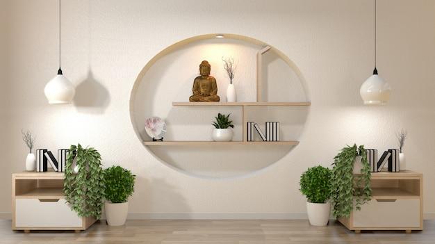 Biała ściana makieta pustego pokoju z książką i wazą oraz roślinami na szafce, dekoaracja na półce w stylu japońskim.