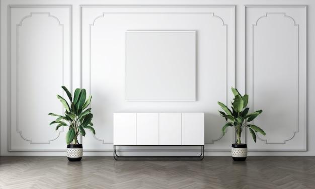Biała ściana wewnętrzna salonu makieta w ciepłych neutralnych kolorach z przytulną dekoracją w stylu na pustym tle białej ściany