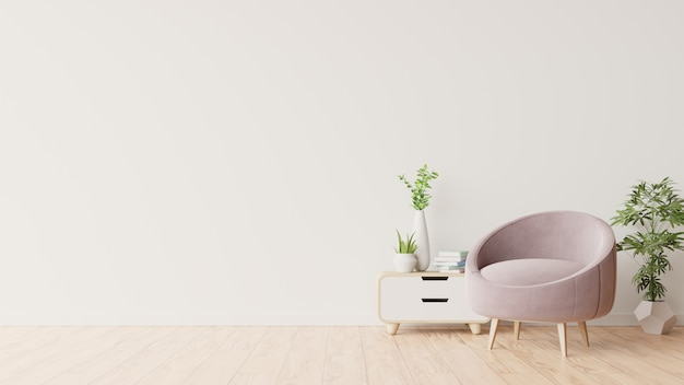 Biała ściana z fotelem w salonie.