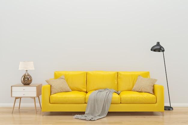 Biała ściana żółty sofa wnętrze tło podłogi z drewna