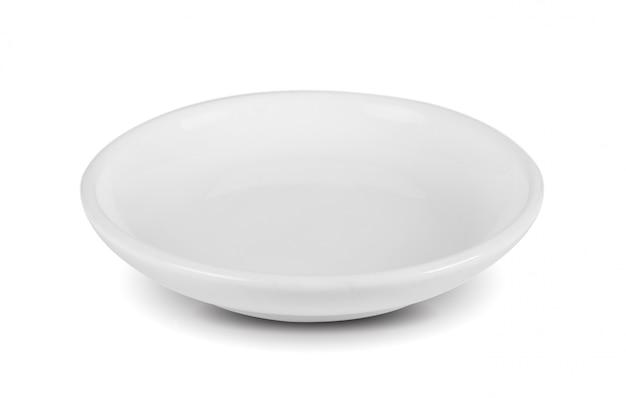 Biała seramic miska na białej przestrzeni